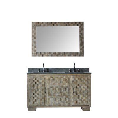 Qing Solid Elm 60 Double Bathroom Vanity Set with Mirror
