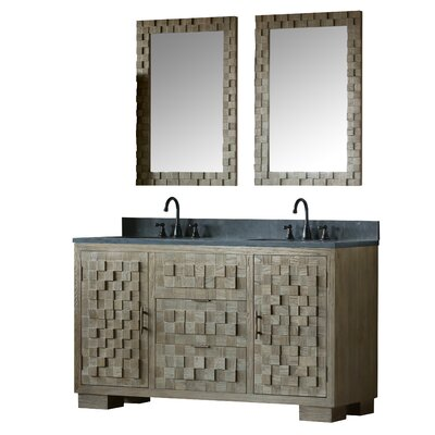 Sharpes Solid Elm 60 Double Bathroom Vanity Set with Mirror