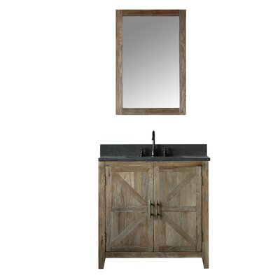 Warm Springs Solid Elm 36 Single Bathroom Vanity Set with Mirror