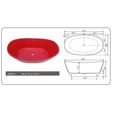 64.2 x 33.5 Freestanding Soaking Bathtub Color: Red