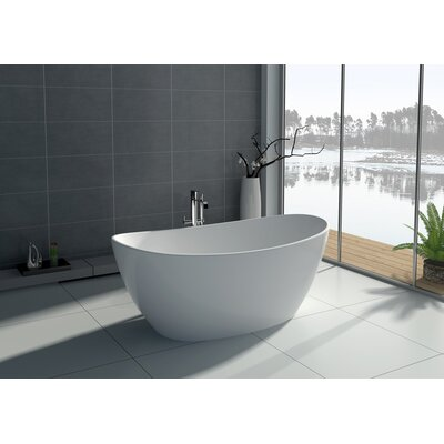 64.2 x 33.5 Freestanding Soaking Bathtub Color: White