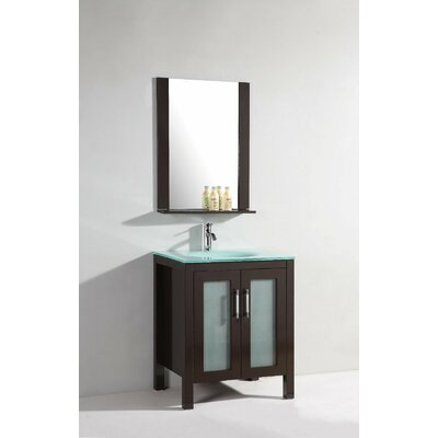 "27.5"" Single Bathroom Vanity Set with Mirror in Dark Chocolate"
