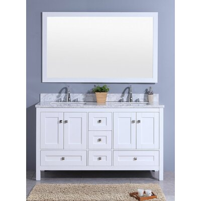Bluffview 61 Double Bathroom Vanity Set with Mirror Base Finish: White