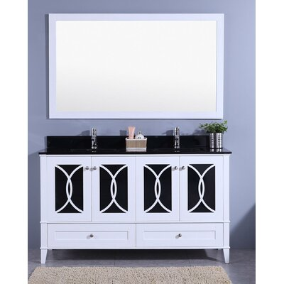 Bezu 60 Double Bathroom Vanity with Mirror Base Finish: White, Top Finish: Black