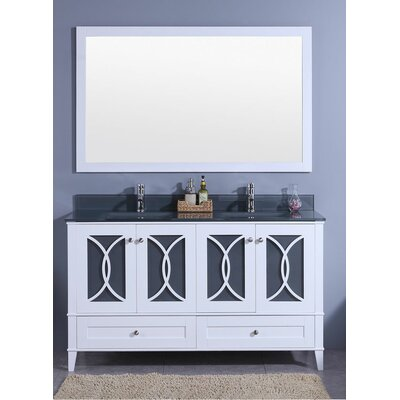 Bezu 60 Double Bathroom Vanity with Mirror Base Finish: White, Top Finish: Tint