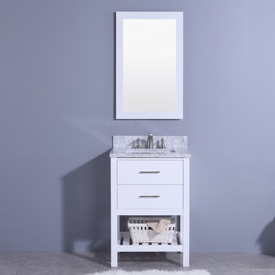 Marhill 25 Single Bathroom Vanity Set with Mirror Base Finish: White