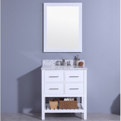 Rosemont 31 Single Bathroom Vanity Set with Mirror Base Finish: White