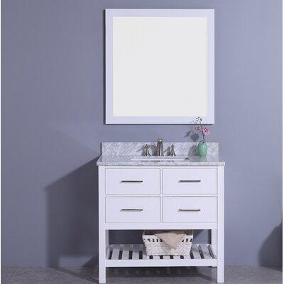 Alton 37 Single Bathroom Vanity Set with Mirror Base Finish: White