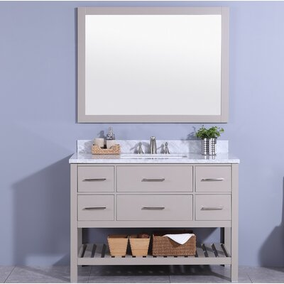Cliffe 49 Single Bathroom Vanity Set with Mirror Base Finish: Gray