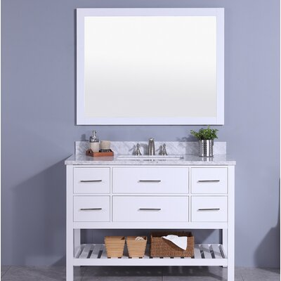 Cliffe 49 Single Bathroom Vanity Set with Mirror Base Finish: White