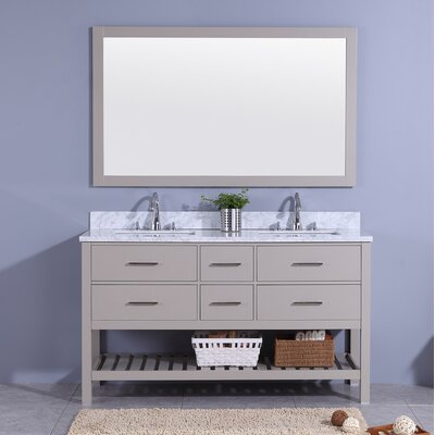 Rawson 61 Double Bathroom Vanity Set with Mirror Base Finish: Gray