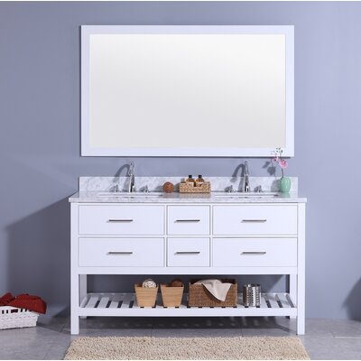 Rawson 61 Double Bathroom Vanity Set with Mirror Base Finish: White