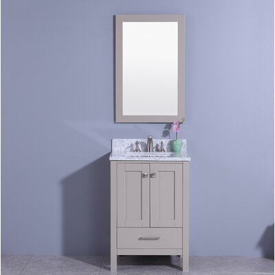 Bloomquist 25 Single Bathroom Vanity Set with Mirror Base Finish: Gray