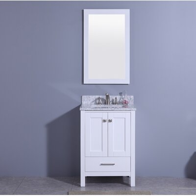 Bloomquist 25 Single Bathroom Vanity Set with Mirror Base Finish: White