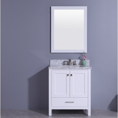Meyers 31 Single Bathroom Vanity Set with Mirror Base Finish: White