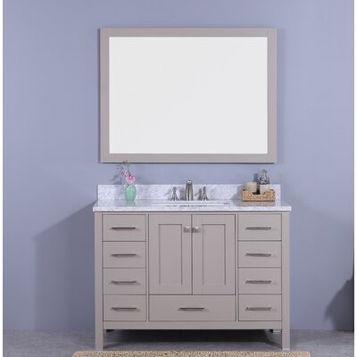 Bluebird 49 Single Bathroom Vanity Set with Mirror Base Finish: Gray