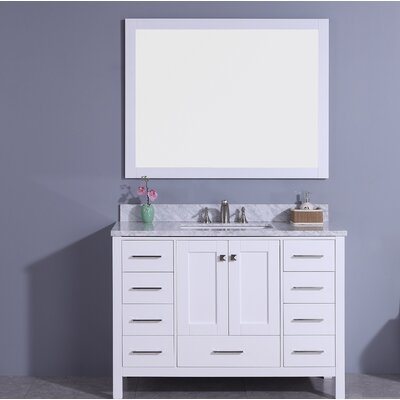 Bluebird 49 Single Bathroom Vanity Set with Mirror Base Finish: White