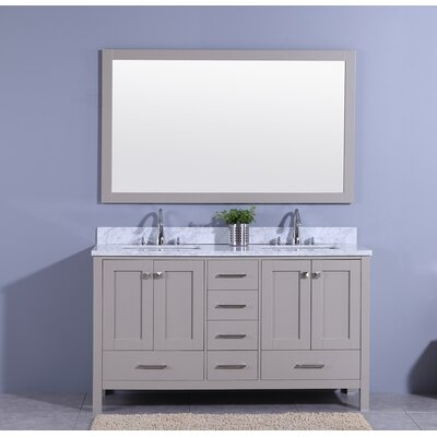 Bluegrass 61 Double Bathroom Vanity Set with Mirror Base Finish: Gray