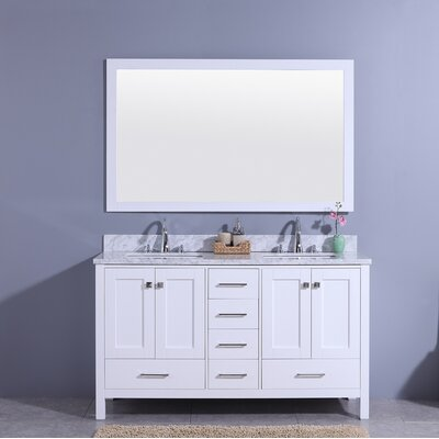 Bluegrass 61 Double Bathroom Vanity Set with Mirror Base Finish: White