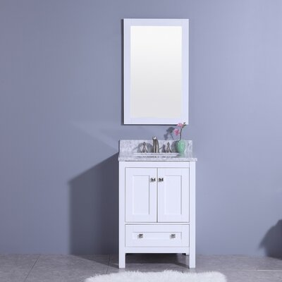 Blueridge 25 Single Bathroom Vanity Set with Mirror Base Finish: White