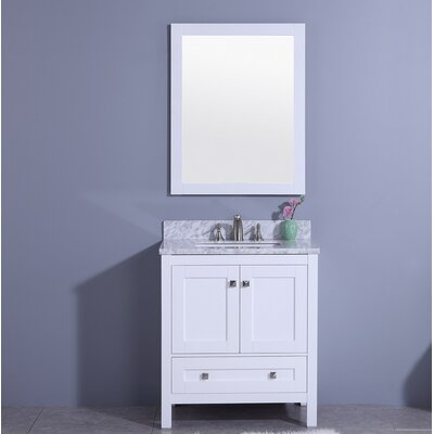 Bluff 31 Single Bathroom Vanity Set with Mirror Base Finish: White