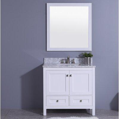 Bluffridge 37 Single Bathroom Vanity Set with Mirror Base Finish: White