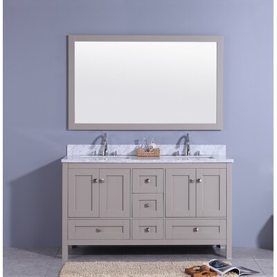 Bluffview 61 Double Bathroom Vanity Set with Mirror Base Finish: Gray