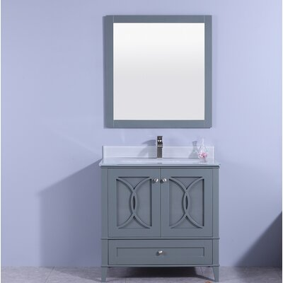 Fernwood 36 Single Bathroom Vanity Set with Mirror Base Finish: White, Top Finish: Black