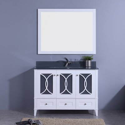 Filmore 48 Single Bathroom Vanity with Mirror Base Finish: White, Top Finish: Tint