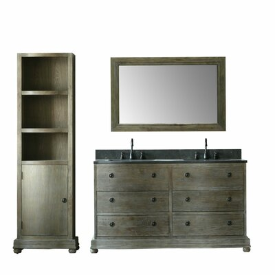 Solid Elm 61 Double Bathroom Vanity Set with Mirror