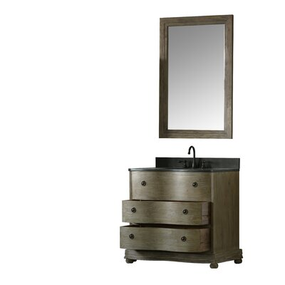 Solid Elm 38 Single Bathroom Vanity Set with Mirror