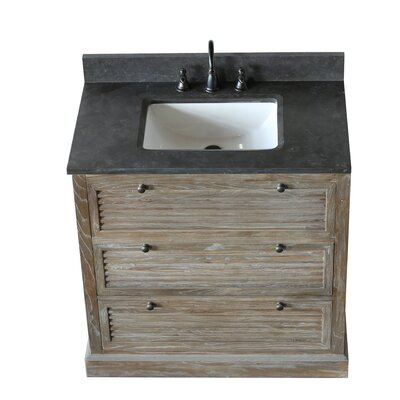 Solid Elm 37 Single Bathroom Vanity Set with Mirror