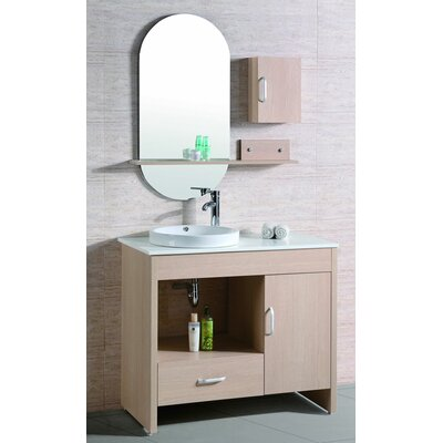 "39"" Single Bathroom Vanity Set with Mirror and Cabinet"
