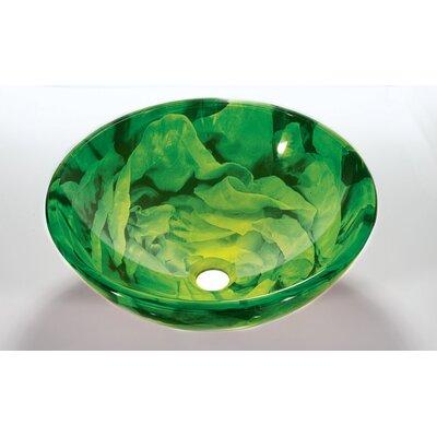 Glass Circular Vessel Bathroom Sink Sink Finish: Green