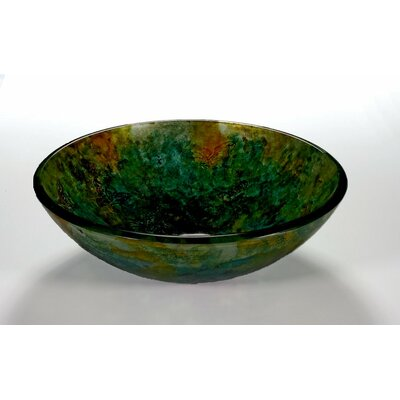 Circular Vessel Bathroom Sink Sink Finish: Butterfly and Green
