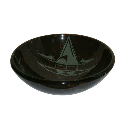 Glass Circular Vessel Bathroom Sink Sink Finish: Black and Gray