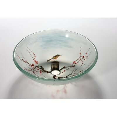 Glass Circular Vessel Bathroom Sink Sink Finish: Bird in the Spring