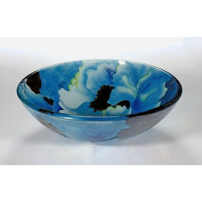 Circular Vessel Bathroom Sink Sink Finish: Blue Leaf
