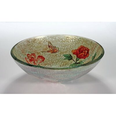 Glass Circular Vessel Bathroom Sink Sink Finish: Rose and  Butterfly
