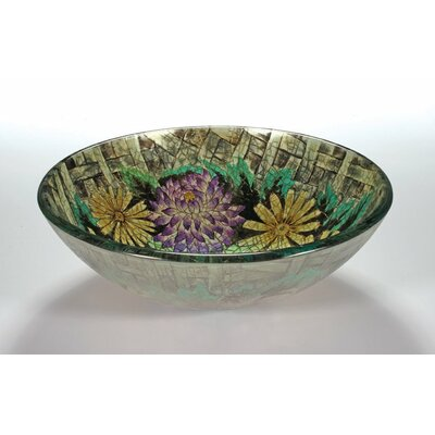 Glass Circular Vessel Bathroom Sink Sink Finish: Floral in Autumn