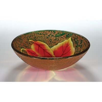Glass Circular Vessel Bathroom Sink Sink Finish: Autumn Leaf