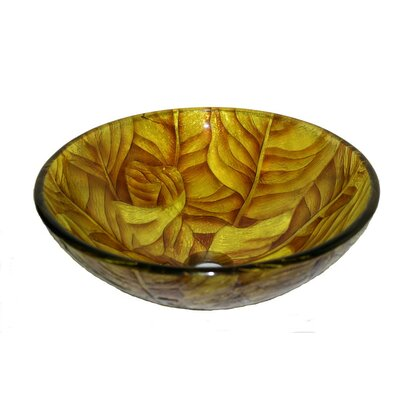 Glass Circular Vessel Bathroom Sink Sink Finish: Yellow Leaf
