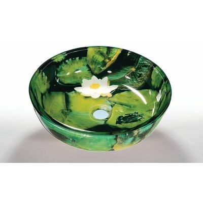 Glass Circular Vessel Bathroom Sink Sink Finish: Lotus Pad