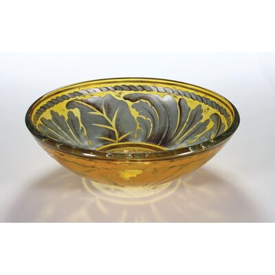 Circular Vessel Bathroom Sink Sink Finish: Golden Leaf