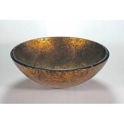 Glass Circular Vessel Bathroom Sink Sink Finish: Antique Gold