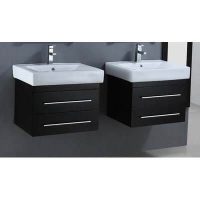 24 Floating Double Bathroom Vanity Set