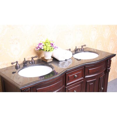 61 Double Bathroom Vanity Top Top Finish: Baltic Brown