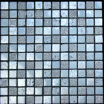 1 x 1 Stone Metal Tile in Blue / Grey