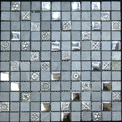 1 x 1 Glass and Stone Metal Tile in Chrome
