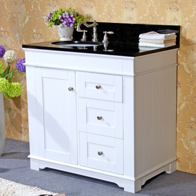 36 Single Bathroom Vanity Set Base Finish: White, Top Finish: Egypt Beige Granite